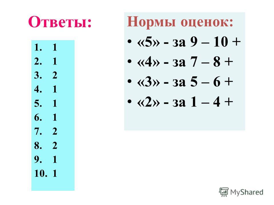 Ответы: 1.1 2.1 3.2 4.1 5.1 6.1 7.2 8.2 9.1 10.1 Нормы оценок: «5» - за 9 – 10 + «4» - за 7 – 8 + «3» - за 5 – 6 + «2» - за 1 – 4 +