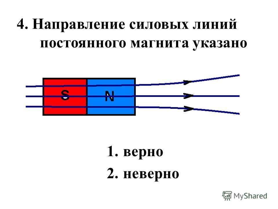 4. Направление силовых линий постоянного магнита указано 1.верно 2.неверно