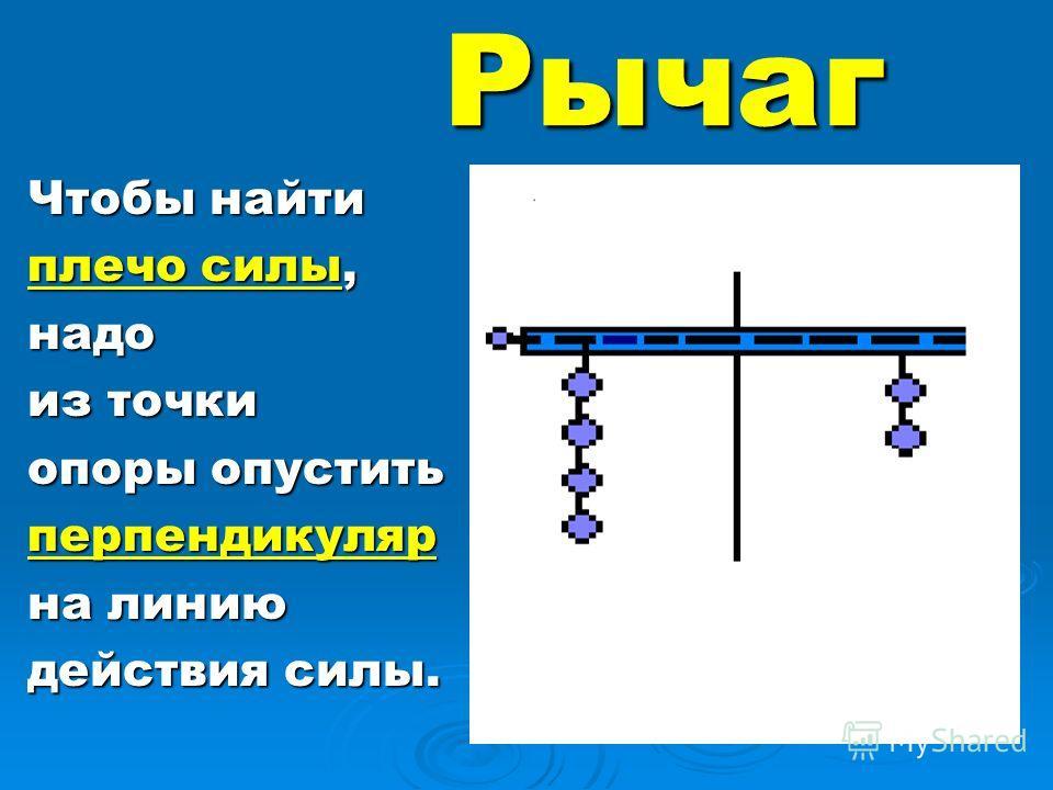 Рычаг Чтобы найти плечо силы, надо из точки опоры опустить перпендикуляр на линию действия силы.