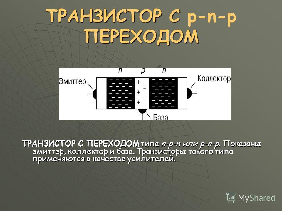 ТРАНЗИСТОР С ПЕРЕХОДОМ ТРАНЗИСТОР С p-n-p ПЕРЕХОДОМ ТРАНЗИСТОР С ПЕРЕХОДОМ типа n-p-n или p-n-p. Показаны эмиттер, коллектор и база. Транзисторы такого типа применяются в качестве усилителей.