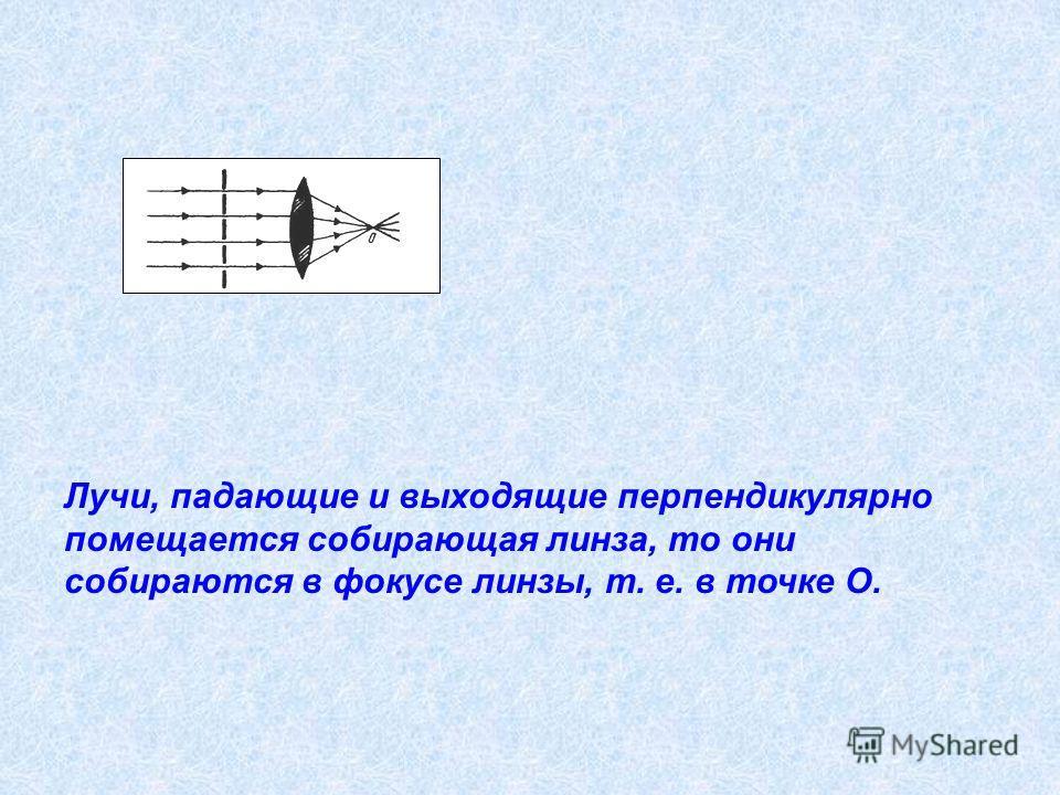 Лучи, падающие и выходящие перпендикулярно помещается собирающая линза, то они собираются в фокусе линзы, т. е. в точке О.