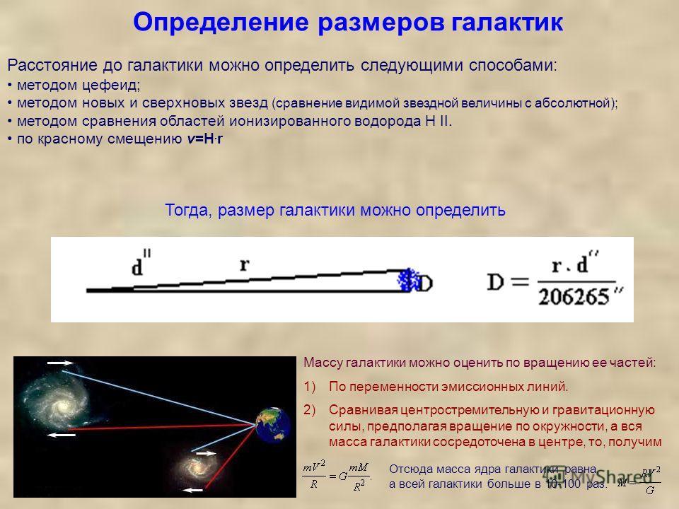 Определение размеров галактик. Отсюда масса ядра галактики равна, а всей галактики больше в 10-100 раз. Массу галактики можно оценить по вращению ее частей: 1)По переменности эмиссионных линий. 2)Сравнивая центростремительную и гравитационную силы, п