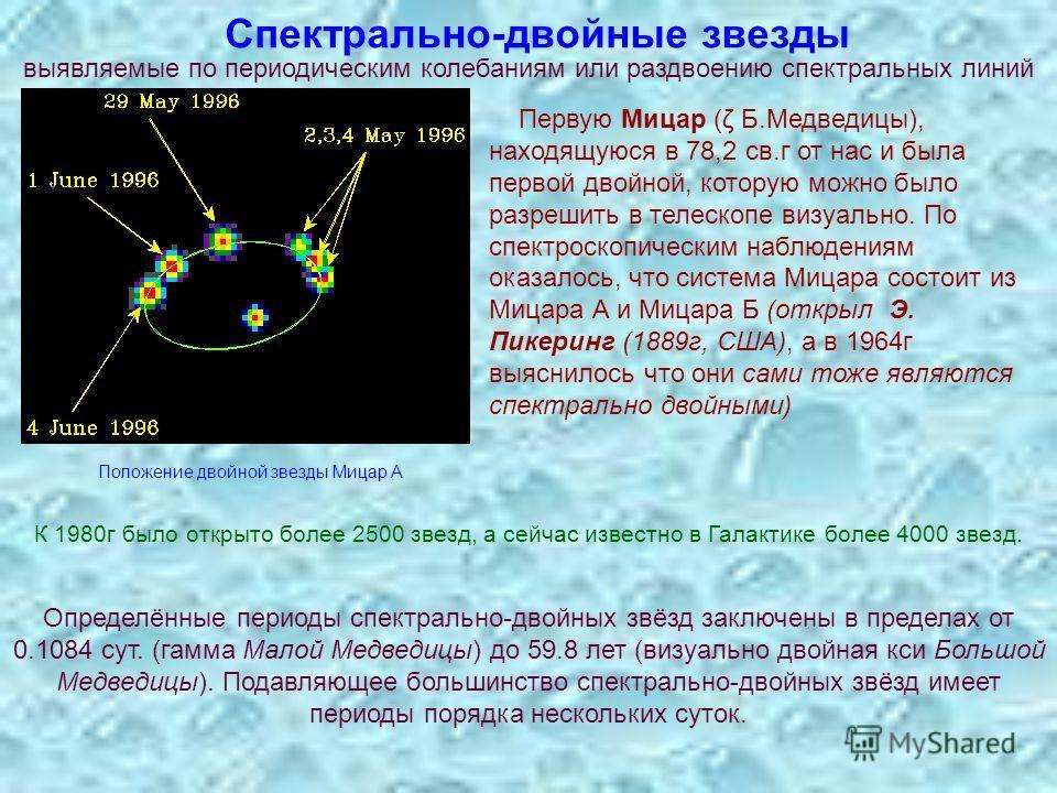Спектрально-двойные звезды выявляемые по периодическим колебаниям или раздвоению спектральных линий Первую Мицар (ζ Б.Медведицы), находящуюся в 78,2 св.г от нас и была первой двойной, которую можно было разрешить в телескопе визуально. По спектроскоп