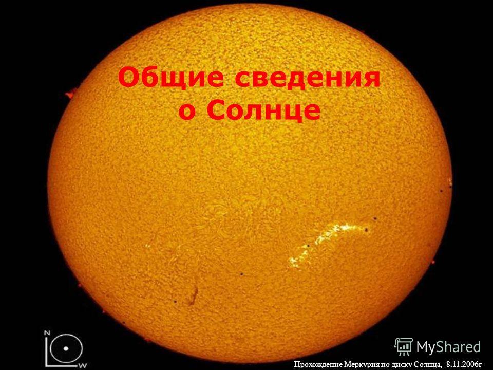 Общие сведения о Солнце Прохождение Меркурия по диску Солнца, 8.11.2006г