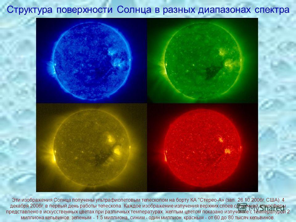 Структура поверхности Солнца в разных диапазонах спектра Эти изображения Солнца получены ультрафиолетовым телескопом на борту КА