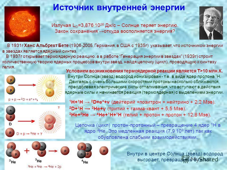 Источник внутренней энергии Излучая L ʘ =3,876. 10 26 Дж/с – Солнце теряет энергию. Закон сохранения откуда восполняется энергия? В 1931г Ханс Альбрехт Бете (1906-2005, Германия, в США с 1935г) указывает, что источником энергии в звездах является яде