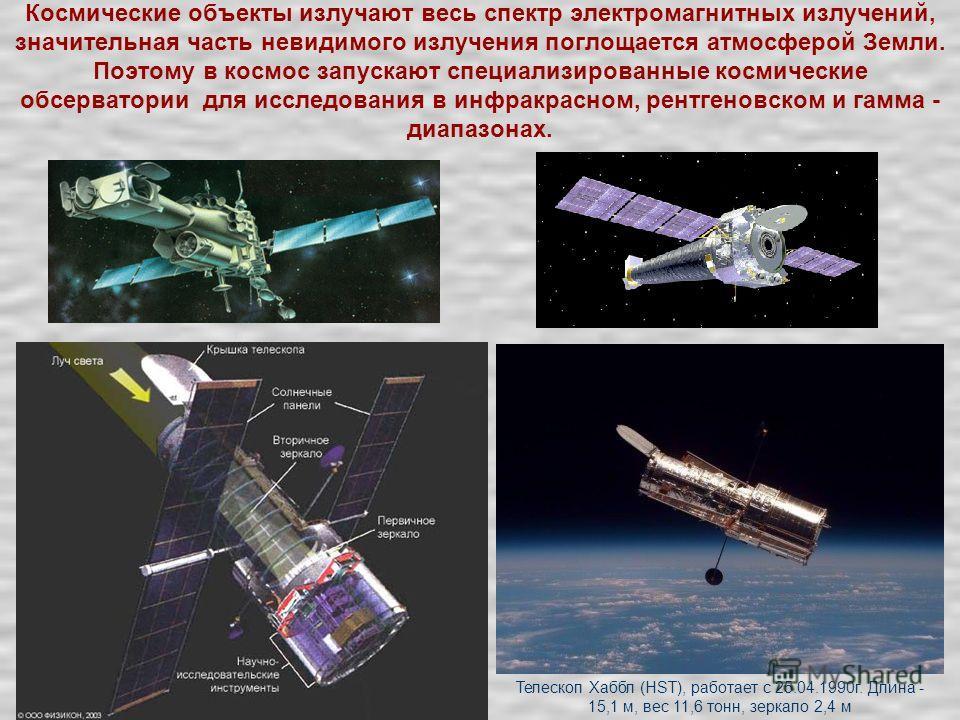 Космические объекты излучают весь спектр электромагнитных излучений, значительная часть невидимого излучения поглощается атмосферой Земли. Поэтому в космос запускают специализированные космические обсерватории для исследования в инфракрасном, рентген