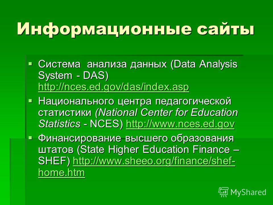 Информационные сайты Система анализа данных (Data Analysis System - DAS) http://nces.ed.gov/das/index.asp Система анализа данных (Data Analysis System - DAS) http://nces.ed.gov/das/index.asp http://nces.ed.gov/das/index.asp Национального центра педаг