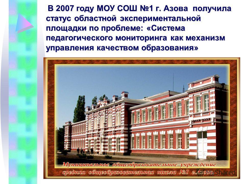 В ВВ В 2007 году МОУ СОШ 1 г. Азова п п п получила статус областной экспериментальной площадки по проблеме: «Система педагогического мониторинга как механизм управления качеством образования»