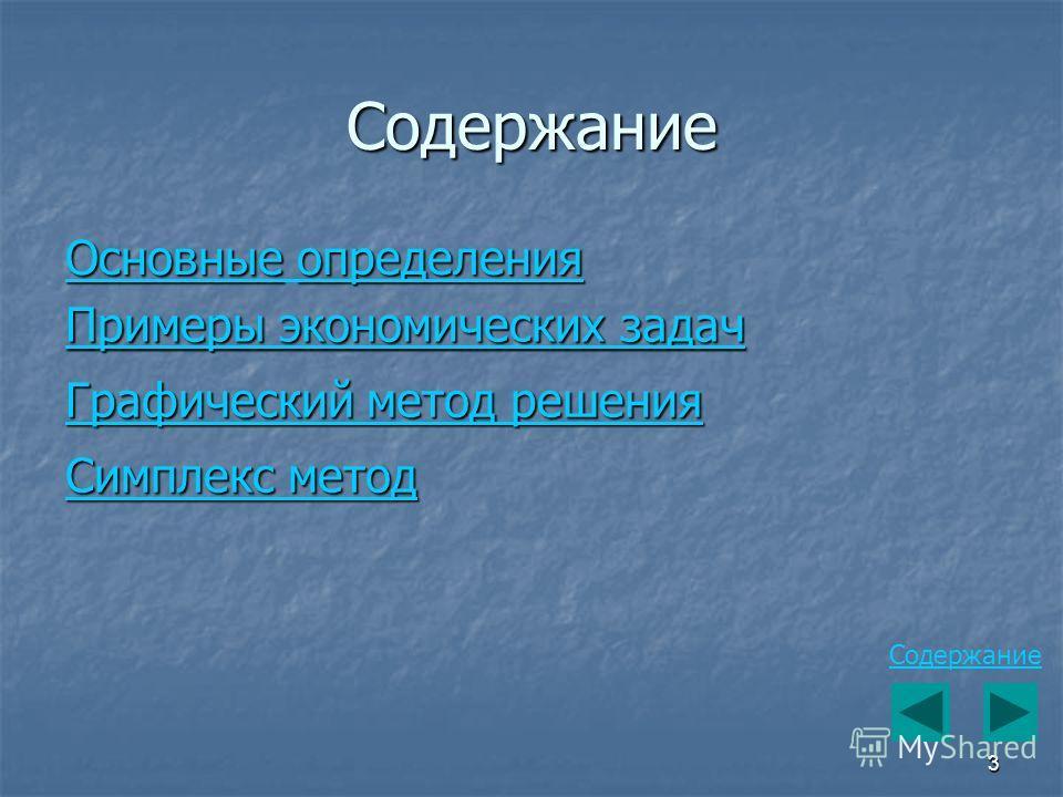 3 Содержание Примеры экономических задач Примеры экономических задач Основныеопределения Основные определения Графический метод решения Графический метод решения Симплекс метод Симплекс метод Содержание
