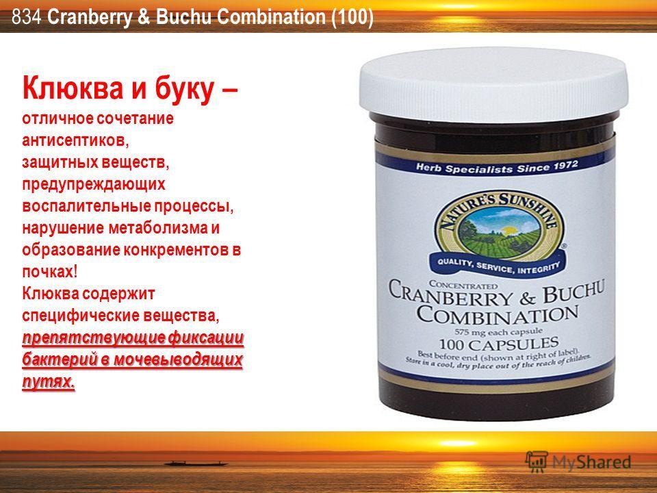 834 Cranberry & Buchu Combination (100) Клюква и буку – отличное сочетание антисептиков, защитных веществ, предупреждающих воспалительные процессы, нарушение метаболизма и образование конкрементов в почках! препятствующие фиксации бактерий в мочевыво