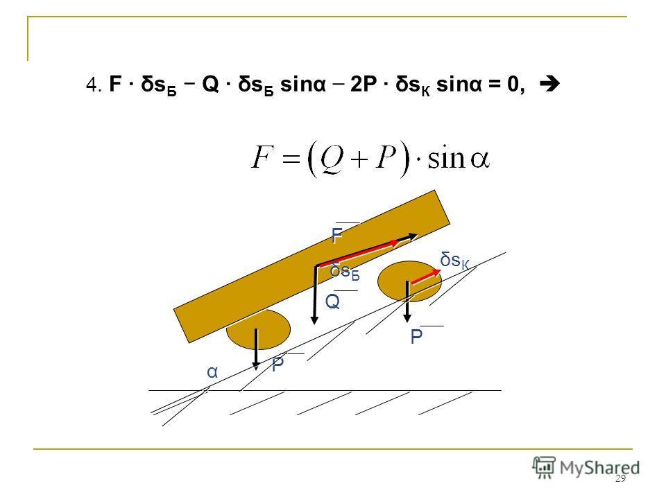 29 4. F δs Б Q δs Б sinα 2P δs К sinα = 0, F F α α Q Q Р Р Р Р δsКδsК δsКδsК δs Б