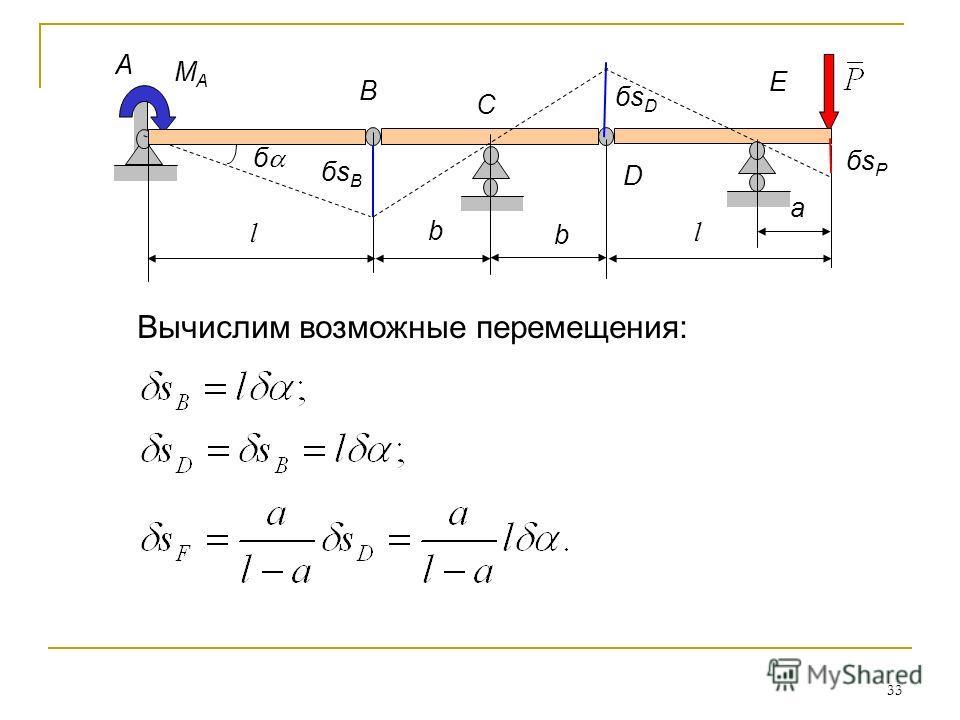 33 Вычислим возможные перемещения: б бsPбsP бsBбsB MAMA A B a l l C D E b b бsDбsD