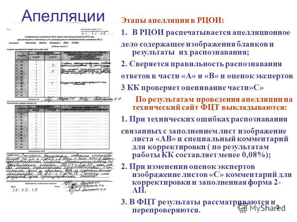 3 Апелляции Этапы апелляции в РЦОИ: 1.В РЦОИ распечатывается апелляционное дело содержащее изображения бланков и результаты их распознавания; 2. Сверяется правильность распознавания ответов в части «А» и «В» и оценок экспертов 3 КК проверяет оцениван