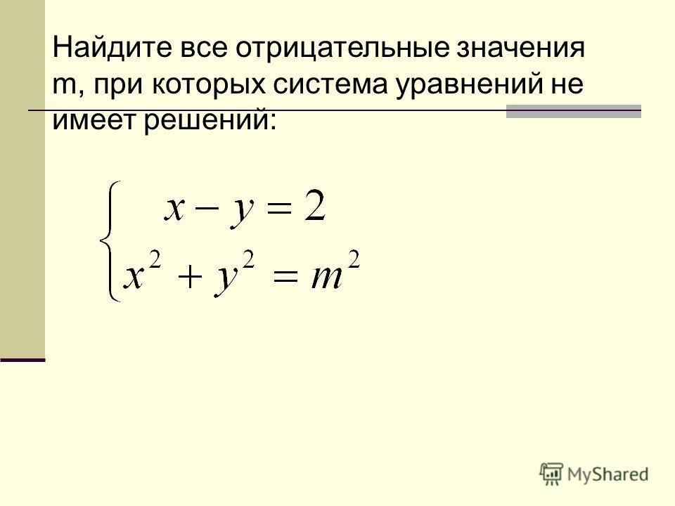 Найдите все отрицательные значения m, при которых система уравнений не имеет решений: