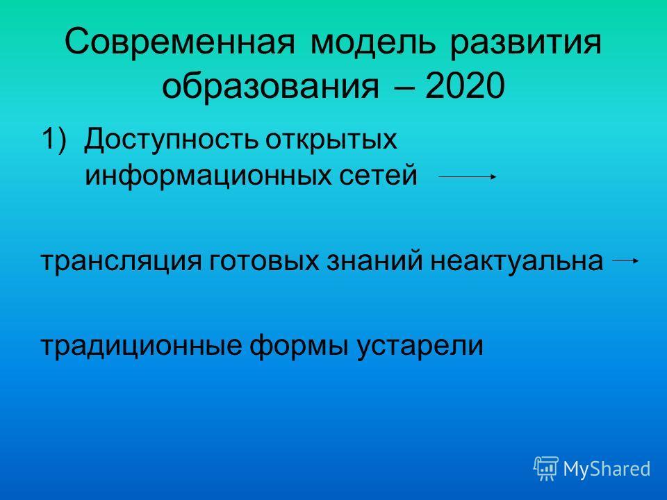 Современная модель развития образования – 2020 1)Доступность открытых информационных сетей трансляция готовых знаний неактуальна традиционные формы устарели