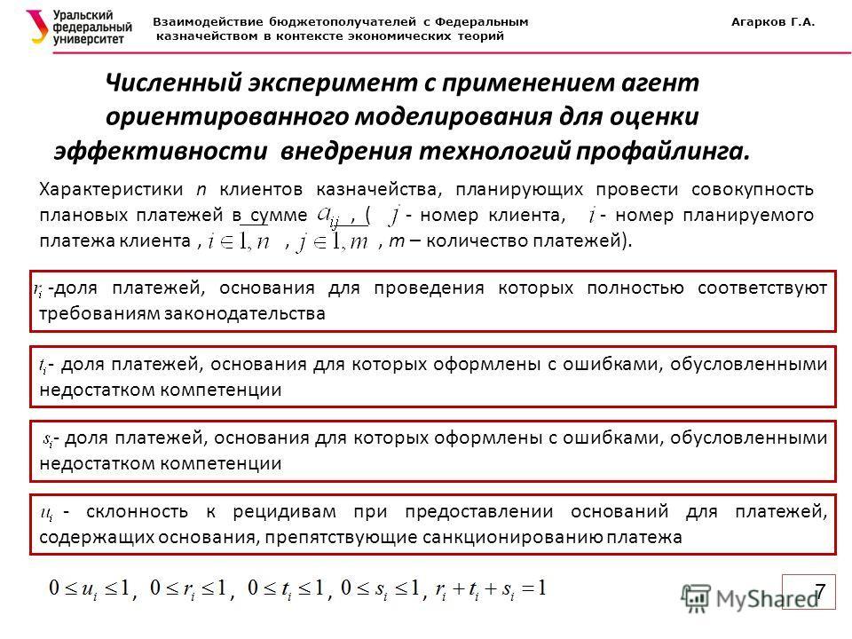 7 Взаимодействие бюджетополучателей с Федеральным Агарков Г.А. казначейством в контексте экономических теорий Численный эксперимент с применением агент ориентированного моделирования для оценки эффективности внедрения технологий профайлинга. Характер