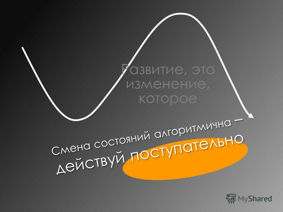 Смена состояний алгоритмична – действуй поступательно Развитие, это изменение, которое