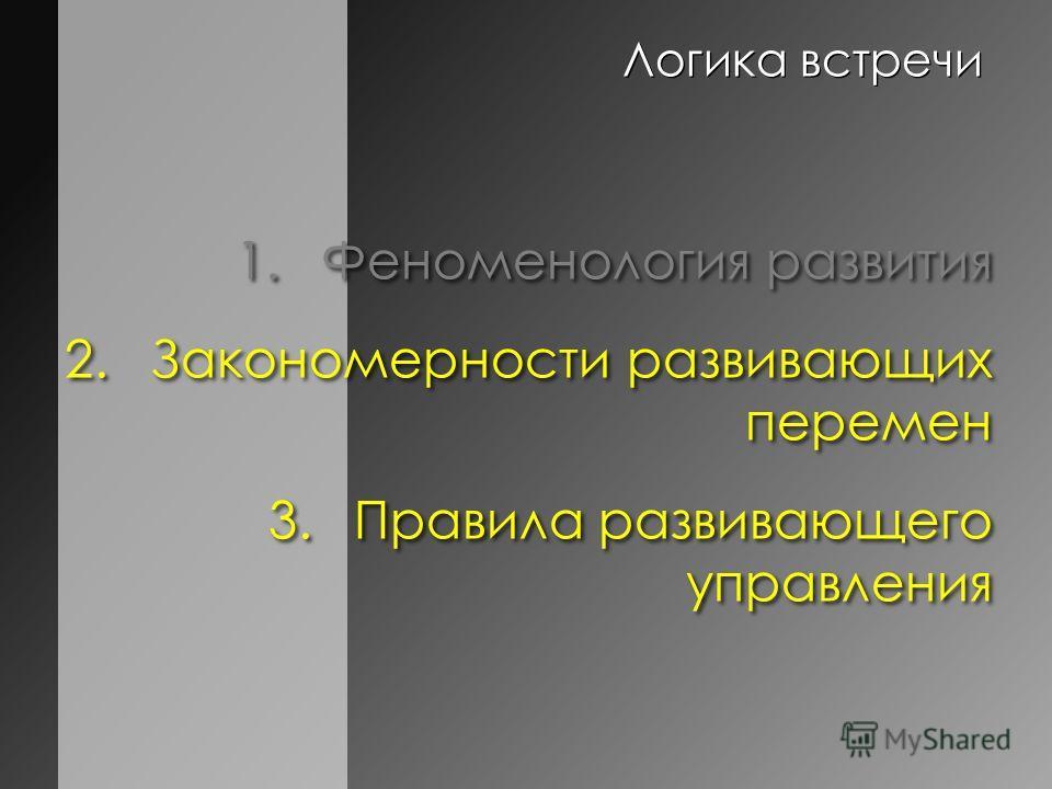 Логика встречи 1.Феноменология развития 2.Закономерности развивающих перемен 3.Правила развивающего управления 1.Феноменология развития 2.Закономерности развивающих перемен 3.Правила развивающего управления