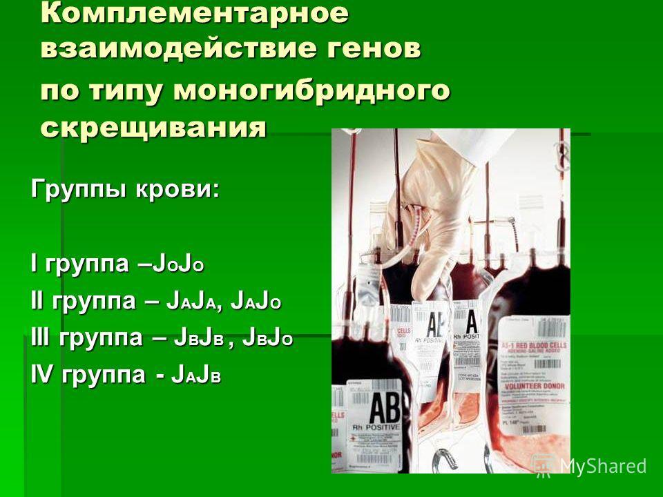Комплементарное взаимодействие генов по типу моногибридного скрещивания Группы крови: I группа –J О J О II группа – J A J A, J A J O III группа – J B J B, J B J О IV группа - J A J B