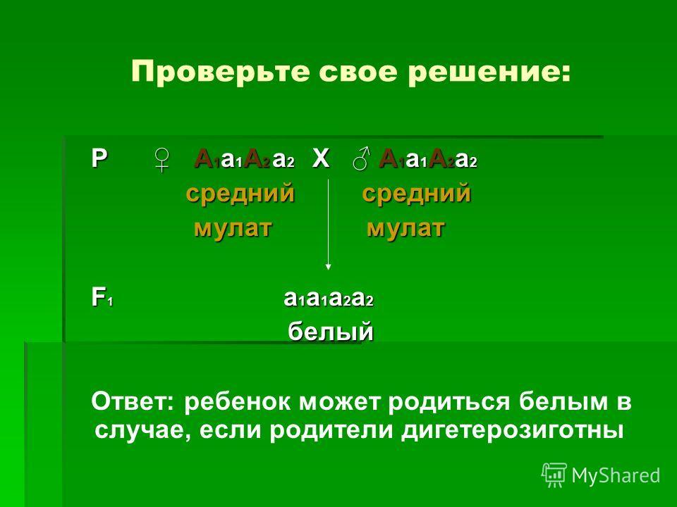 Проверьте свое решение: Р А 1 а 1 А 2 а 2 Х А 1 а 1 А 2 а 2 Р А 1 а 1 А 2 а 2 Х А 1 а 1 А 2 а 2 средний средний средний средний мулат мулат мулат мулат F 1 а 1 а 1 а 2 а 2 F 1 а 1 а 1 а 2 а 2 белый белый Ответ: ребенок может родиться белым в случае,