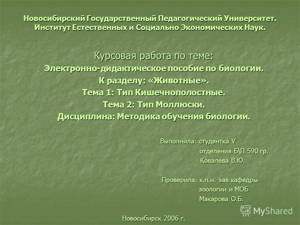 Презентация на тему Новосибирский Государственный Педагогический  1 Новосибирский Государственный Педагогический Университет Институт Естественных и Социально Экономических Наук Курсовая работа