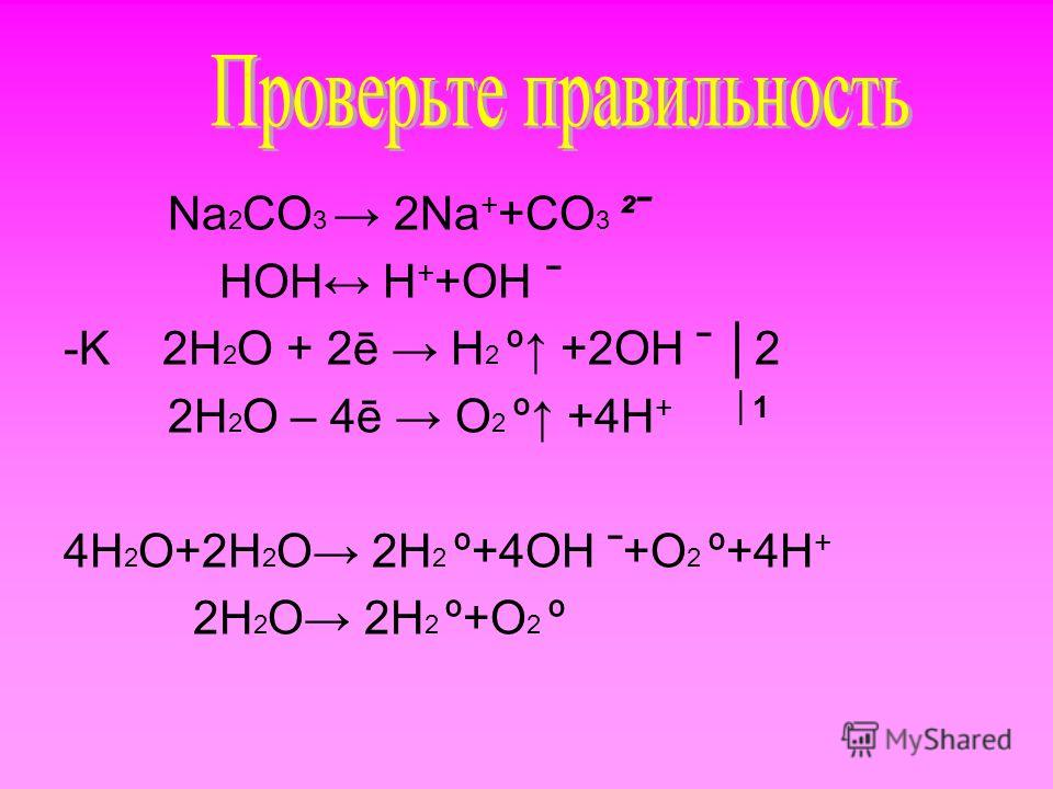 Na 2 CО 3 2Na + +CО 3 ²ˉ HOH H + +OH ˉ -K 2H 2 O + 2ē H 2 º +2OH ˉ 2 2H 2 O – 4ē O 2 º +4H + 1 4H 2 O+2H 2 O 2H 2 º+4OH ˉ+O 2 º+4H + 2H 2 O 2H 2 º+O 2 º