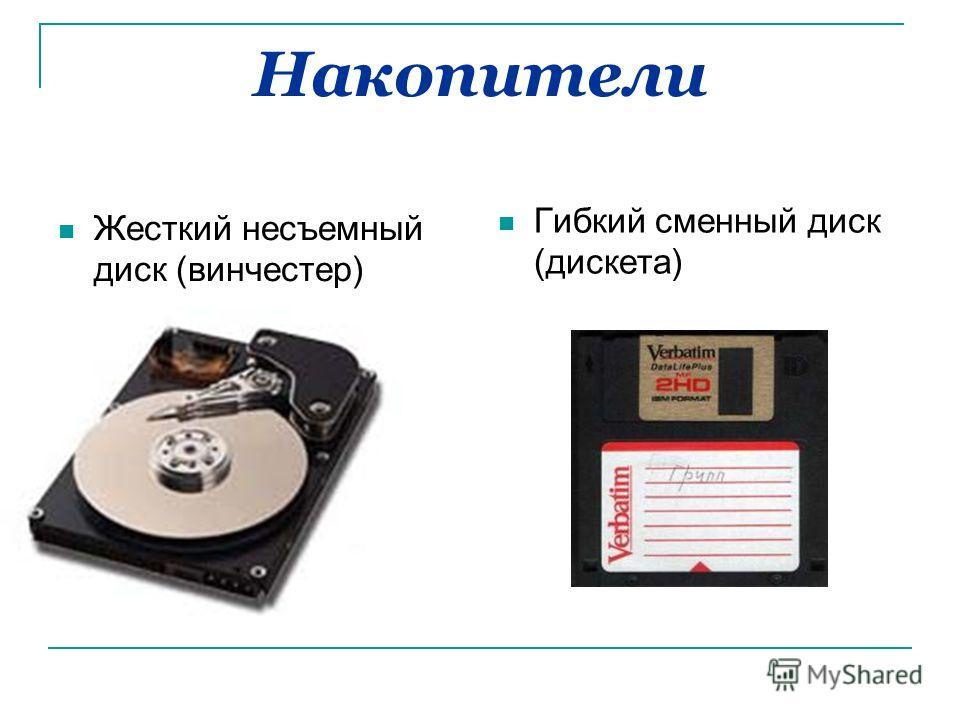 Накопители Жесткий несъемный диск (винчестер) Гибкий сменный диск (дискета)