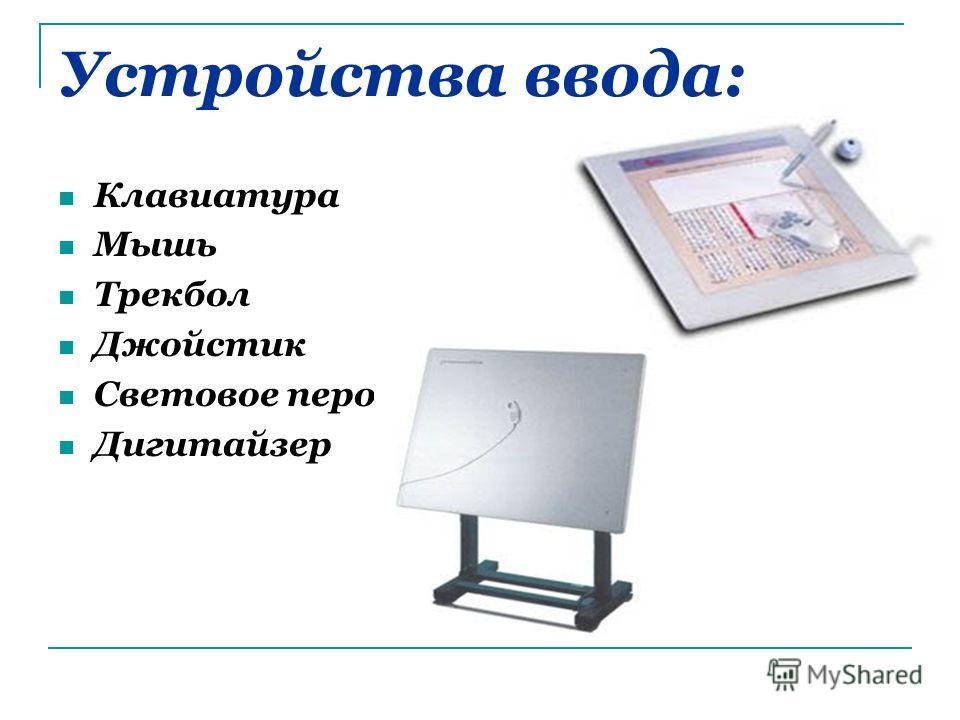 Устройства ввода: Клавиатура Мышь Трекбол Джойстик Световое перо Дигитайзер
