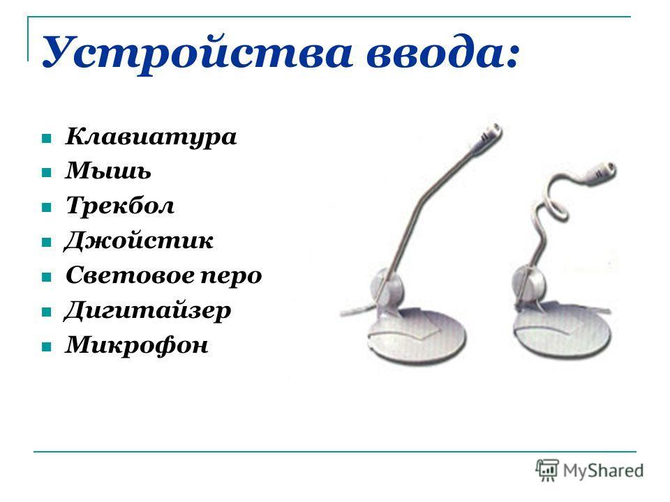 Устройства ввода: Клавиатура Мышь Трекбол Джойстик Световое перо Дигитайзер Микрофон