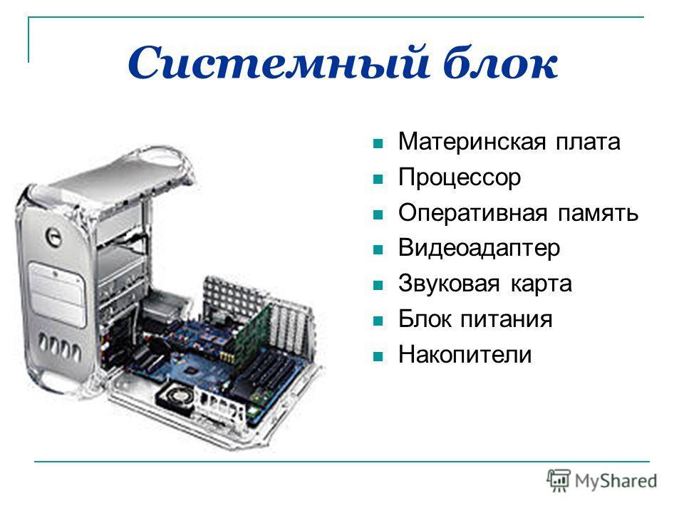 Системный блок Материнская плата Процессор Оперативная память Видеоадаптер Звуковая карта Блок питания Накопители