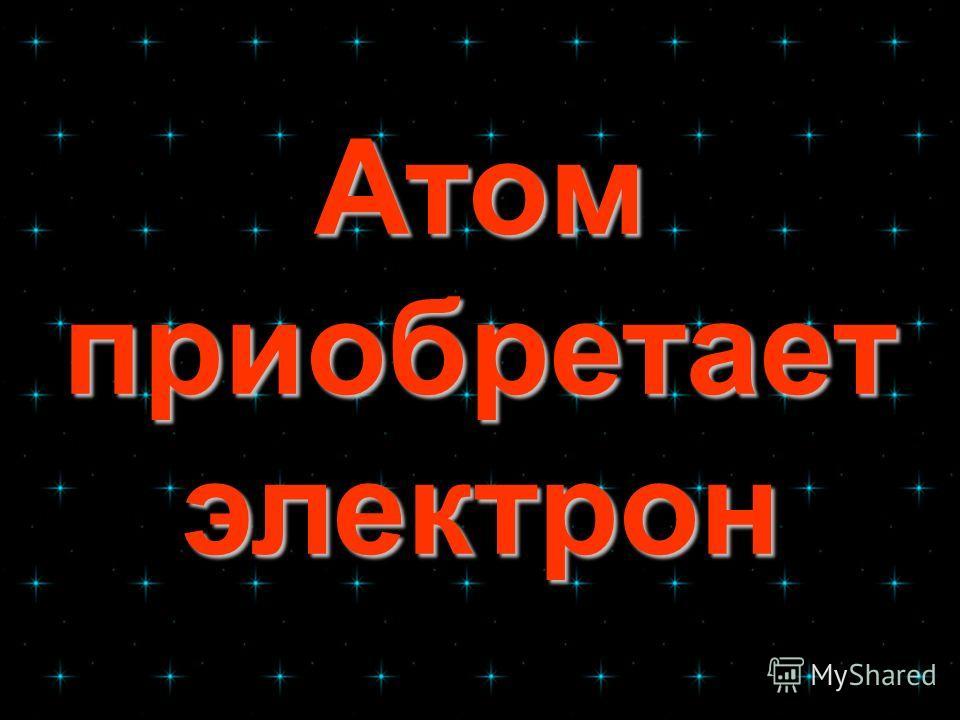 Атом приобретает электрон Атом приобретает электрон
