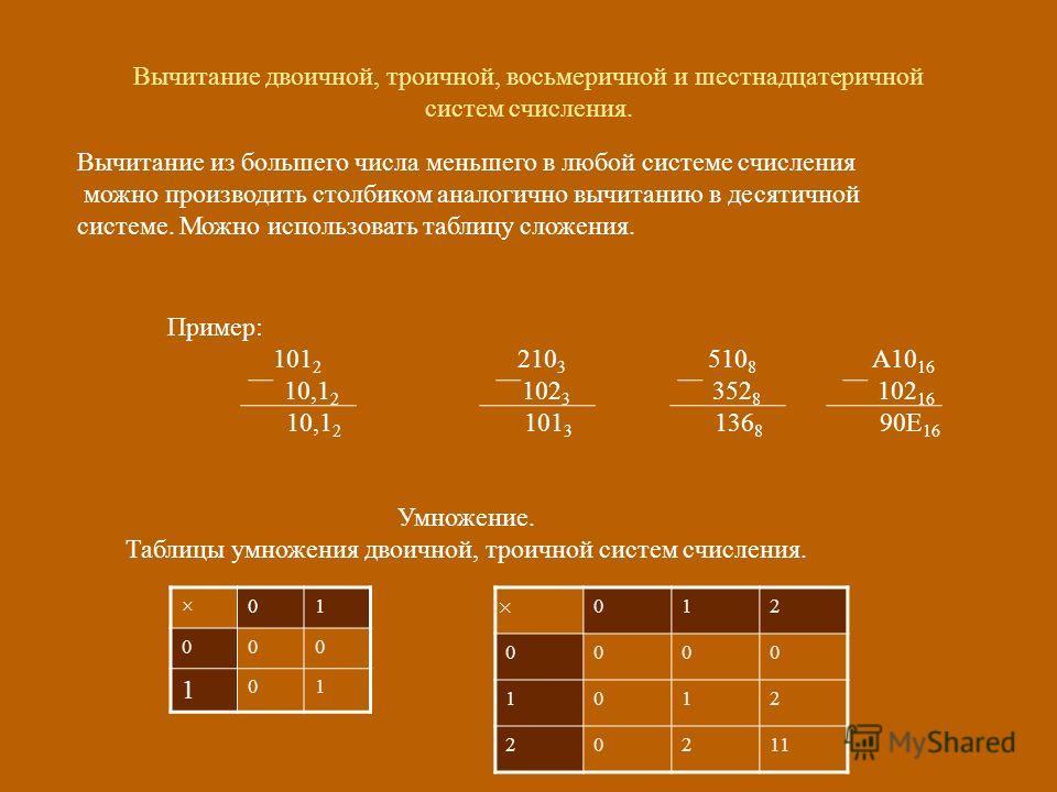 Вычитание двоичной, троичной, восьмеричной и шестнадцатеричной систем счисления. Вычитание из большего числа меньшего в любой системе счисления можно производить столбиком аналогично вычитанию в десятичной системе. Можно использовать таблицу сложения