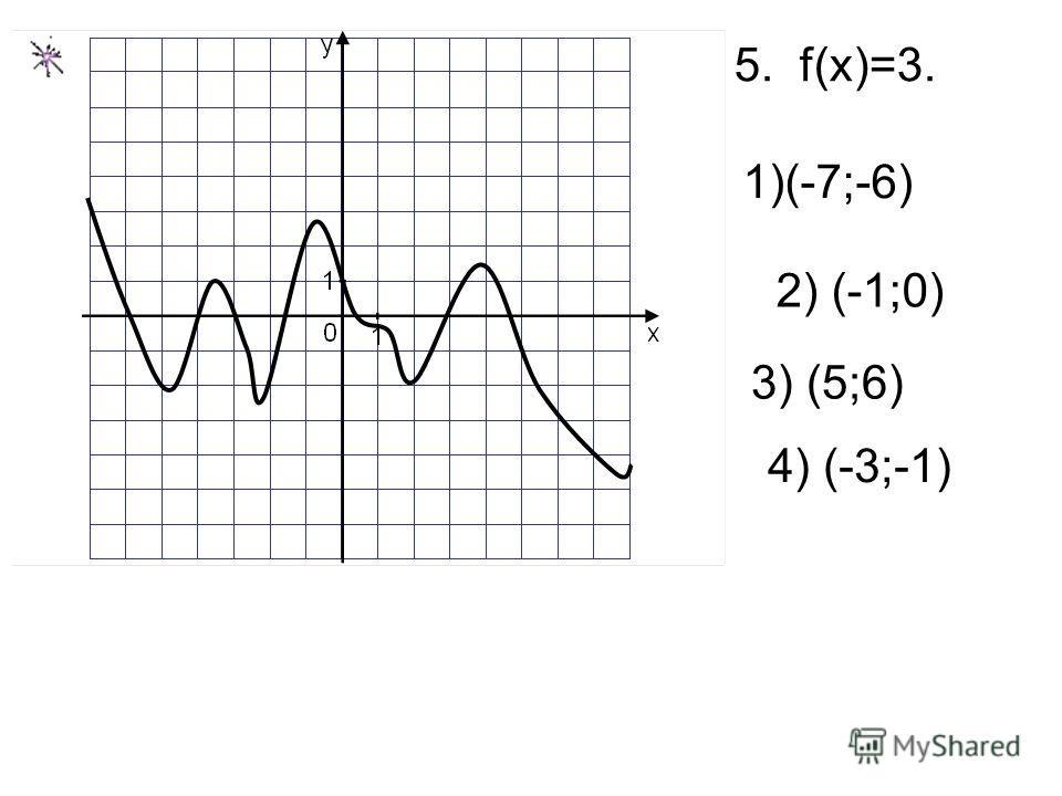 5. f(x)=3. 2) (-1;0) 1)(-7;-6) 3) (5;6) 4) (-3;-1)