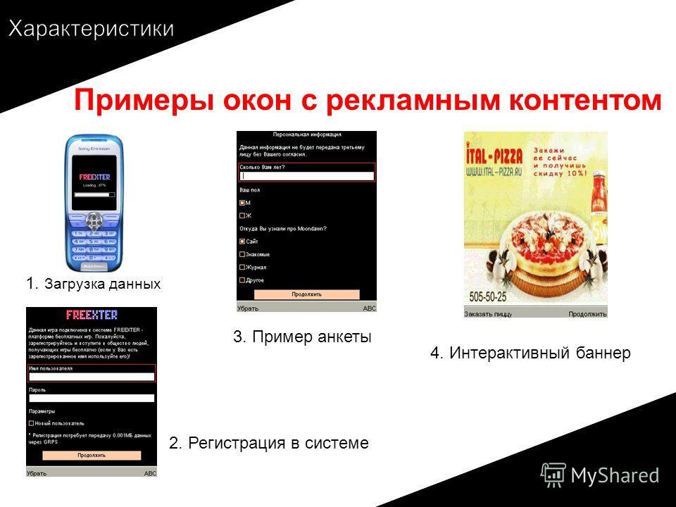 Примеры окон с рекламным контентом 3. Пример анкеты 2. Регистрация в системе 4. Интерактивный баннер 1. Загрузка данных