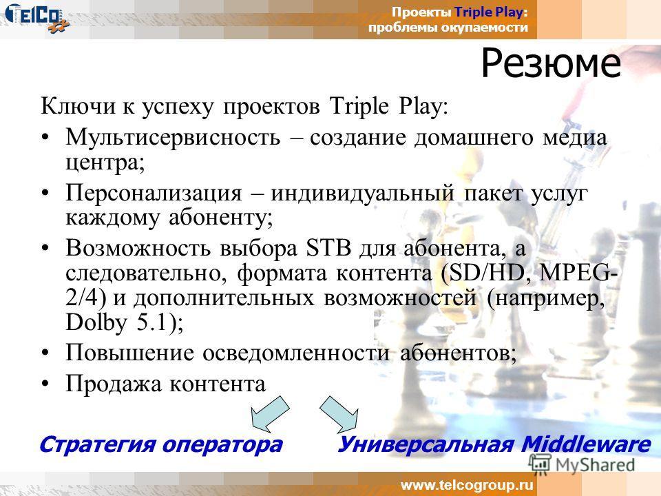 Проекты Triple Play: проблемы окупаемости www.telcogroup.ru Резюме Ключи к успеху проектов Triple Play: Мультисервисность – создание домашнего медиа центра; Персонализация – индивидуальный пакет услуг каждому абоненту; Возможность выбора STB для абон