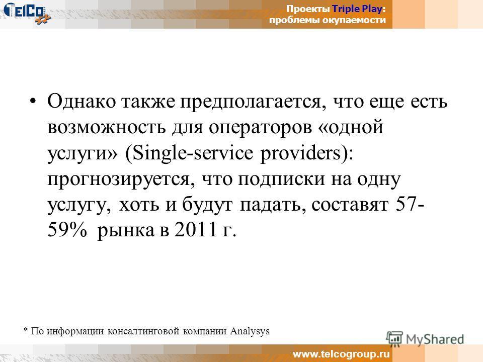 Проекты Triple Play: проблемы окупаемости www.telcogroup.ru Однако также предполагается, что еще есть возможность для операторов «одной услуги» (Single-service providers): прогнозируется, что подписки на одну услугу, хоть и будут падать, составят 57-
