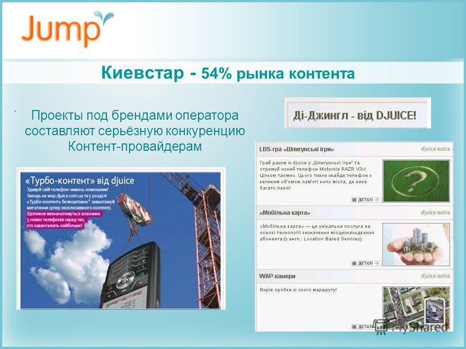 Киевстар - 54% рынка контента. Проекты под брендами оператора составляют серьёзную конкуренцию Контент-провайдерам