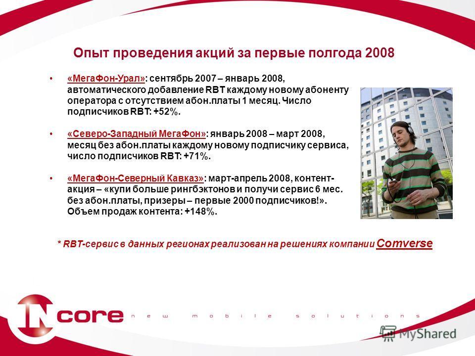 «МегаФон-Урал»: сентябрь 2007 – январь 2008, автоматического добавление RBT каждому новому абоненту оператора с отсутствием абон.платы 1 месяц. Число подписчиков RBT: +52%. «Северо-Западный МегаФон»: январь 2008 – март 2008, месяц без абон.платы кажд