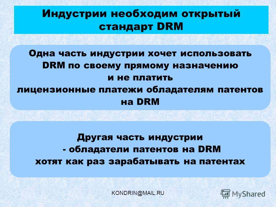 KONDRIN@MAIL.RU Индустрии необходим открытый стандарт DRM Одна часть индустрии хочет использовать DRM по своему прямому назначению и не платить лицензионные платежи обладателям патентов на DRM Другая часть индустрии - обладатели патентов на DRM хотят