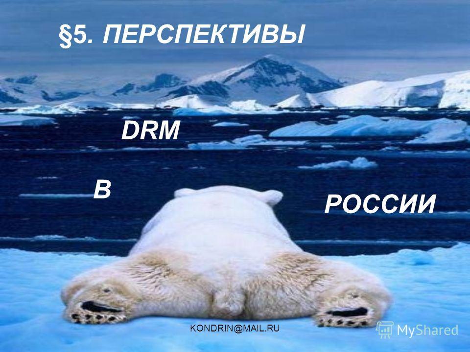 KONDRIN@MAIL.RU §5. ПЕРСПЕКТИВЫ В РОССИИ DRM