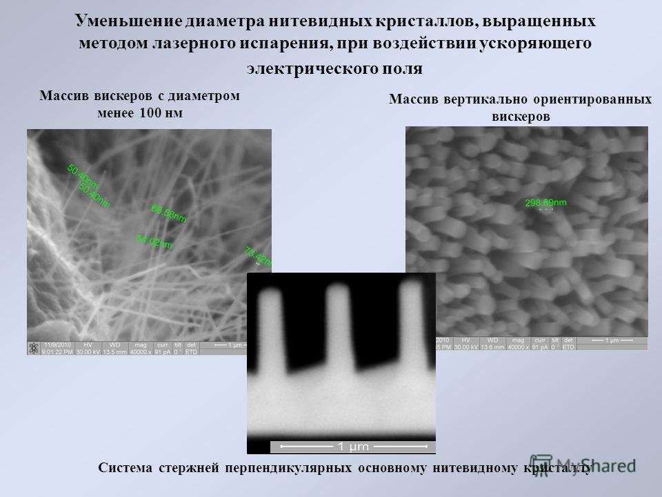 Система стержней перпендикулярных основному нитевидному кристаллу Уменьшение диаметра нитевидных кристаллов, выращенных методом лазерного испарения, при воздействии ускоряющего электрического поля Массив вискеров с диаметром менее 100 нм Массив верти