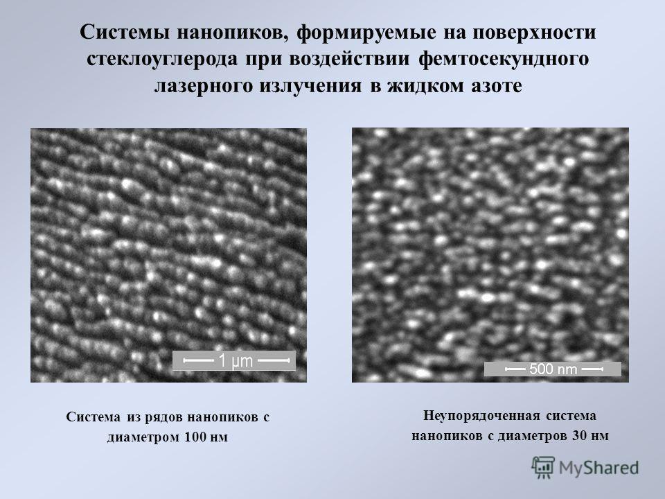 Системы нанопиков, формируемые на поверхности стеклоуглерода при воздействии фемтосекундного лазерного излучения в жидком азоте Неупорядоченная система нанопиков с диаметров 30 нм Система из рядов нанопиков с диаметром 100 нм