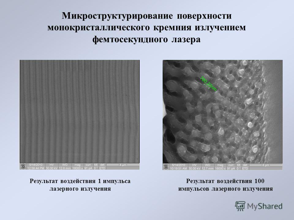 Микроструктурирование поверхности монокристаллического кремния излучением фемтосекундного лазера Результат воздействия 1 импульса лазерного излучения Результат воздействия 100 импульсов лазерного излучения