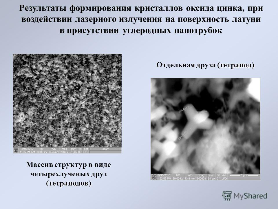 Результаты формирования кристаллов оксида цинка, при воздействии лазерного излучения на поверхность латуни в присутствии углеродных нанотрубок (тетраподов) Массив структур в виде четырехлучевых друз (тетраподов) (тетрапод) Отдельная друза (тетрапод)