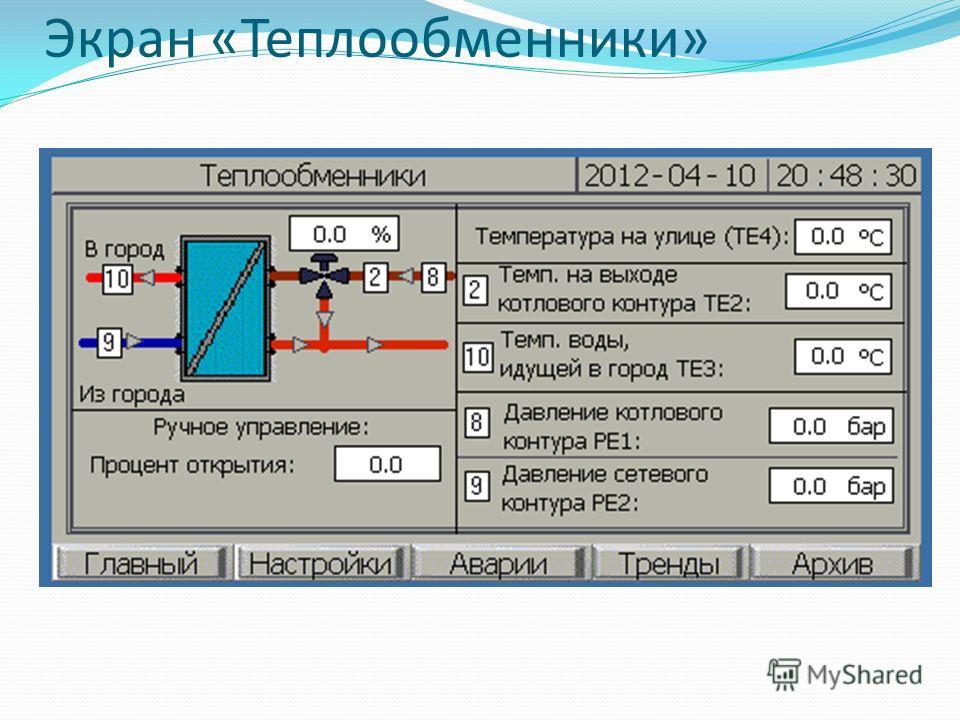 Экран «Теплообменники»