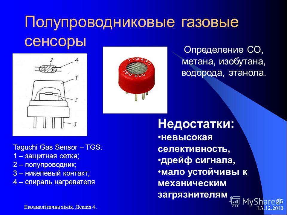 13.12.2013 Екоаналітична хімія. Лекція 4. 24 Полупроводниковые газовые сенсоры Полупроводники Полупроводники n- типа: SnO 2, ZnO, Fe 2 O 3, TiO 2, V 2 O 7, MnO 2, WO 3, ThO 2, CdO Полупроводники Полупроводники p- типа: CoO, Cu 2 O, NiO, Cr 2 O 3 p- т