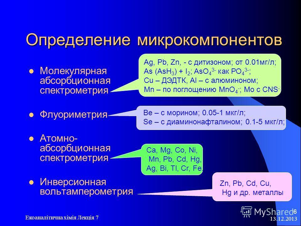 13.12.2013 Екоаналітична хімія Лекція 7 6 Определение микрокомпонентов Молекулярная абсорбционная спектрометрия Флуориметрия Атомно- абсорбционная спектрометрия Инверсионная вольтамперометрия Ag, Pb, Zn, - с дитизоном; от 0.01мг/л; As (AsH 3 ) + I 2
