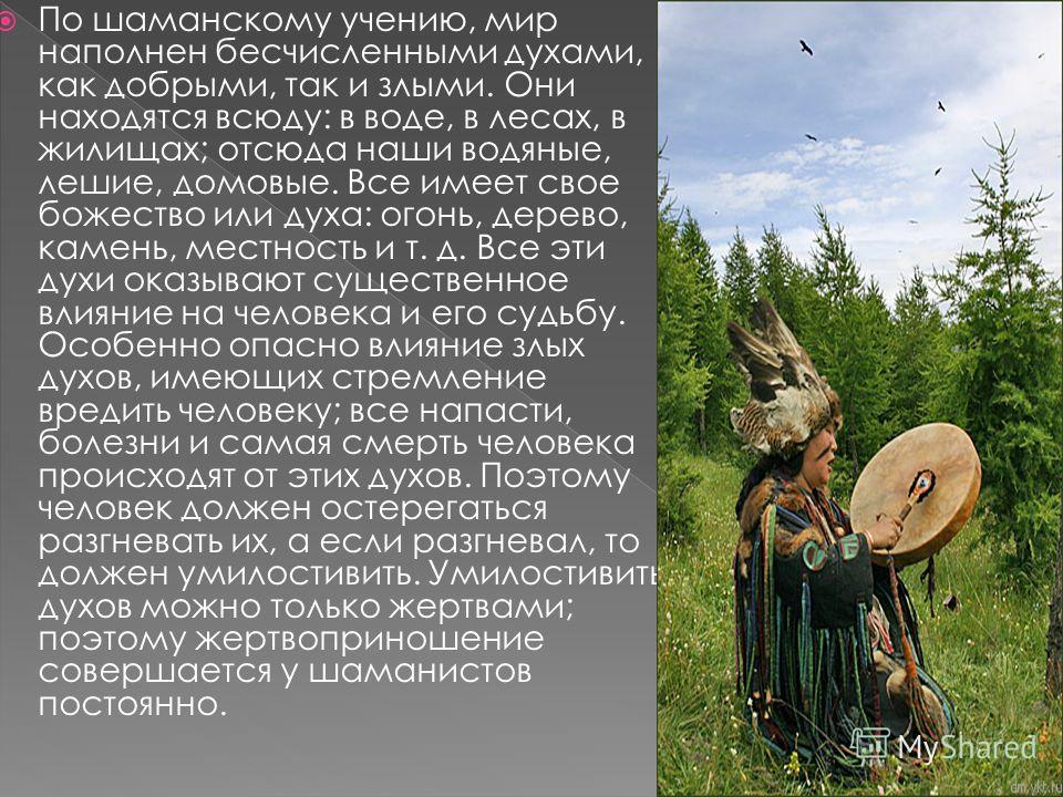 По шаманскому учению, мир наполнен бесчисленными духами, как добрыми, так и злыми. Они находятся всюду: в воде, в лесах, в жилищах; отсюда наши водяные, лешие, домовые. Все имеет свое божество или духа: огонь, дерево, камень, местность и т. д. Все эт