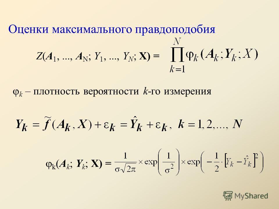 Оценки максимального правдоподобия Z(A 1,..., A N ; Y 1,..., Y N ; X) = k – плотность вероятности k-го измерения k (A k ; Y k ; Х) =